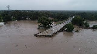 From the air: Bridge collapse in Kingsland, TX after heavy rains