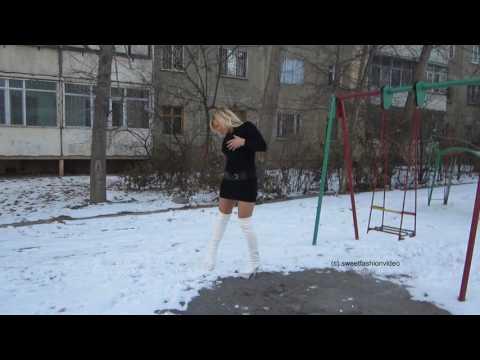 Natalia - Kleid, Schnee und hohe Overknee-Stiefel (boots and dress in the snow), Part II - #0119