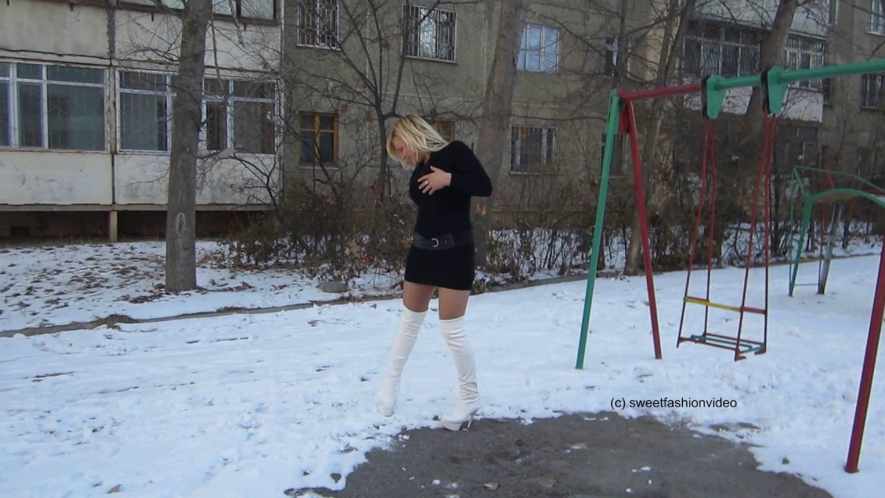 natalia kleid schnee und hohe overknee stiefel boots
