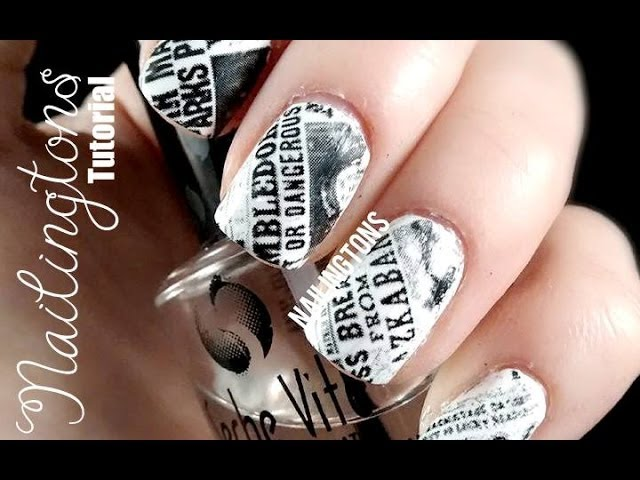Easy Nail Art Harry Potter Inspired Daily Prophet Newspaper Nails Tutorial