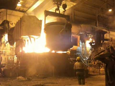 Finkl & Sons dumping scrap steel into smelter