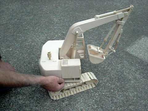 Wooden Model Excavator - YouTube