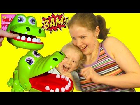 Вызов! КРОКОДИЛ ЧЕЛЛЕНДЖ! Милану укусил крокодил в игре! Семейный веселый Челлендж от FAMILY BOX