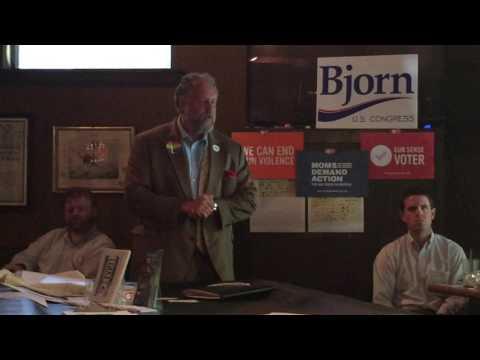 Democratic Candidate Arik Bjorn at the Young Democrats of the Central Midlands Gun Reform Brunch