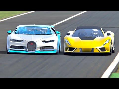 Hennessey Venom F5 vs Bugatti Chiron – Drag Race 2 KM