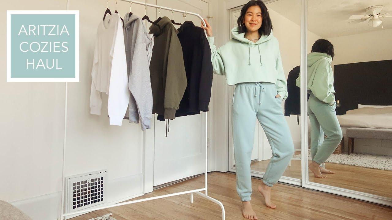 WORK FROM HOME LOOKS | ARITZIA LOUNGEWEAR HAUL featuring sweatpants + sweatshirts