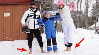 اكتر شخص يوقف حافي على الثلج يكسب 1000$ (لا تجربونها 😭)