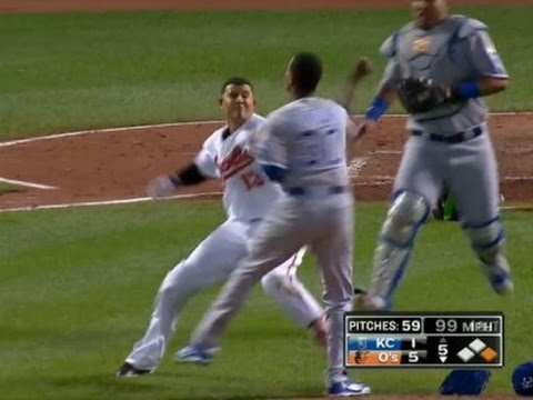 *FULL BRAWL* Manny Machado Punches Yordano Ventura! - Royals at Orioles -  6/7/16