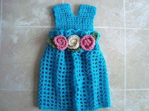 Crochet Girls Dress With Yoke Jumper Summer Dress