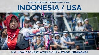 Indonesia v USA – Recurve mixed team bronze | Shanghai 2018 Hyundai Archery World Cup S1