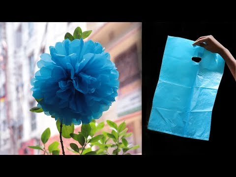 how to make flower from shopping bags