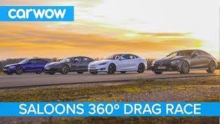 Tesla S P100D v AMG GT 4 v BMW M5 v Porsche Panamera Turbo S - 360° DRAG, ROLLING RACE & BRAKE TEST