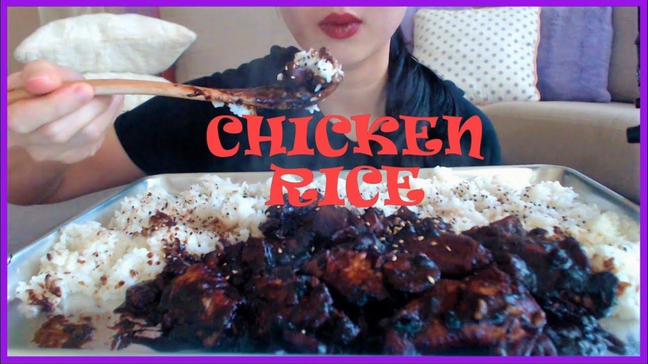 Asmr Eating Honey Soy Chicken White Rice No Talking