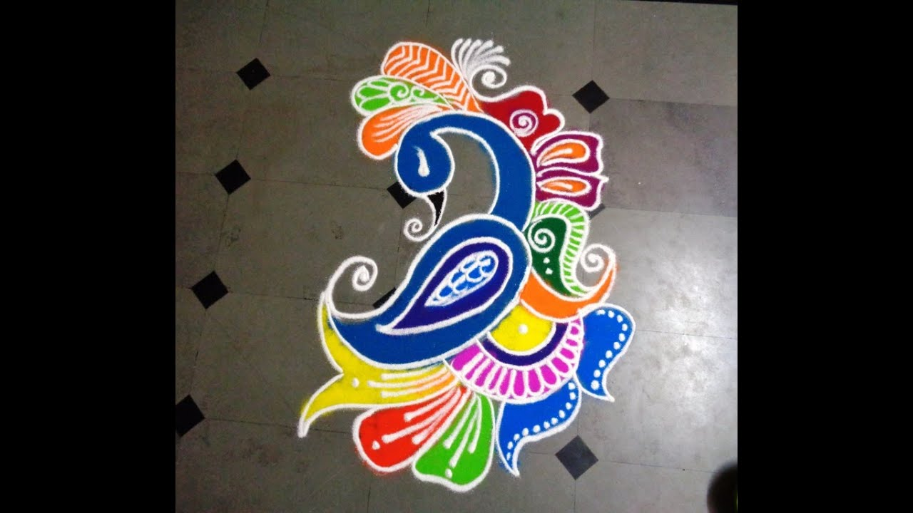 how to make beautiful peacock rangoli design - YouTube