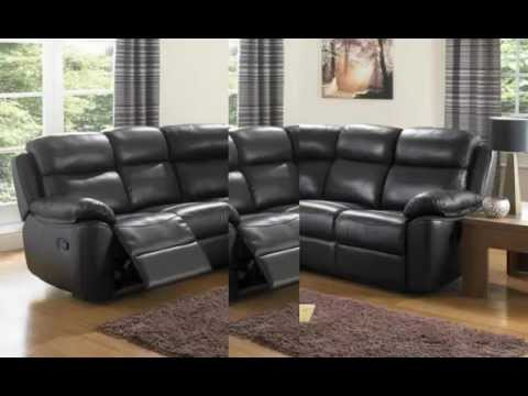 Houston Black Leather Corner Sofas