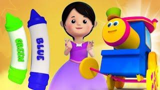 Bob поезд | мелки цвета песня | образовательная песня | узнать имена цветов | Crayons Colors Song