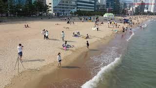 4K 광안리 해변 파라솔 차광텐트 해안가 산책 셀카 드…