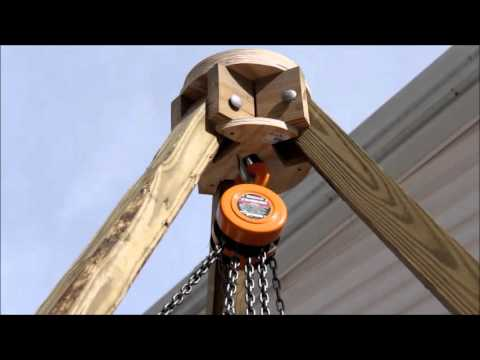 12 ft. Tripod with chain hoist - Great way to move heavy logs!