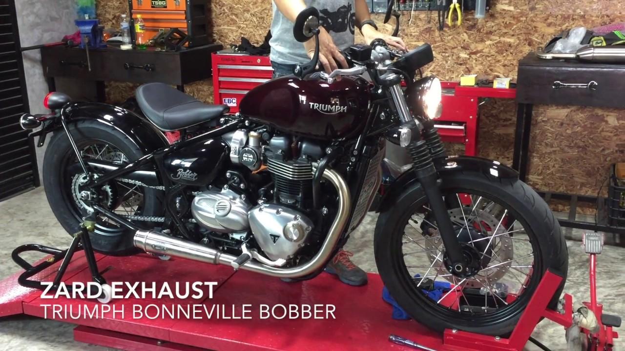 zard exhaust triumph bonneville bobber moto trio youtube. Black Bedroom Furniture Sets. Home Design Ideas