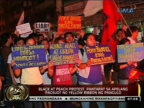24Oras:  Black at peach protest, pantapat sa apelang pagsuot ng yellow ribbon ng Pangulo
