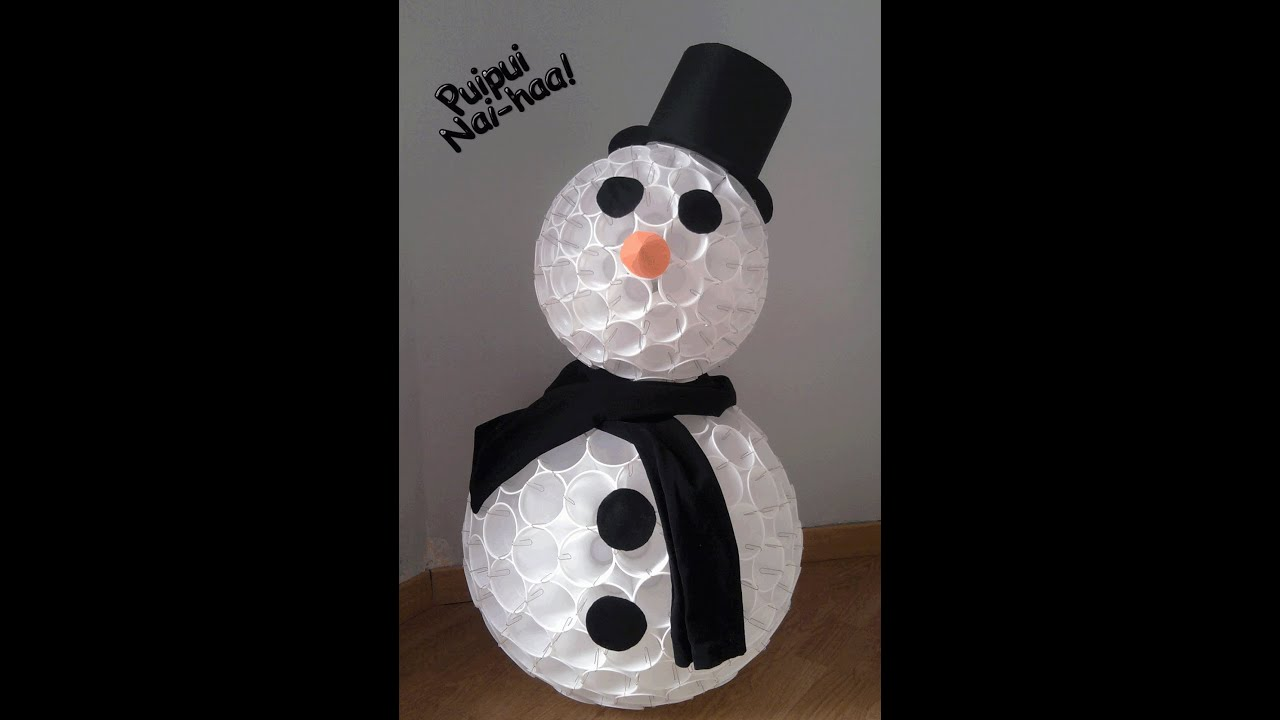 Muñeco De Nieve Con Vasos De Plástico Youtube