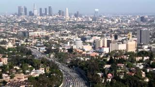 Downtown LA from iconic landmark to wide shot of city