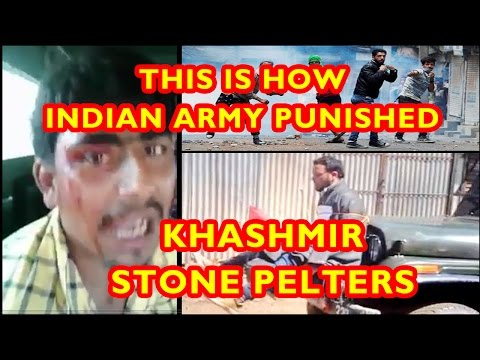 Indian Army Reaction to Stone Pelters in Kashmir | Indian Army Beating Stone Pelters