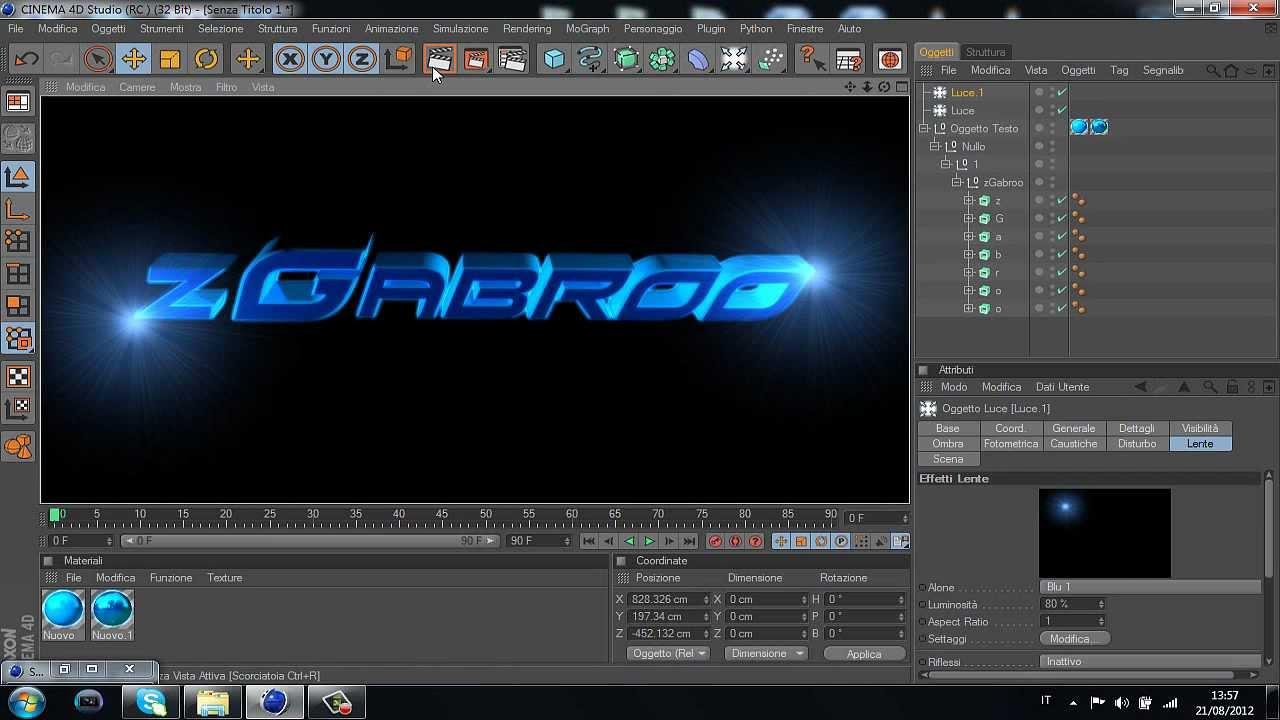 Tutorial cinema 4d come creare una scritta 3d w gabro for Programma per creare ambienti 3d gratis