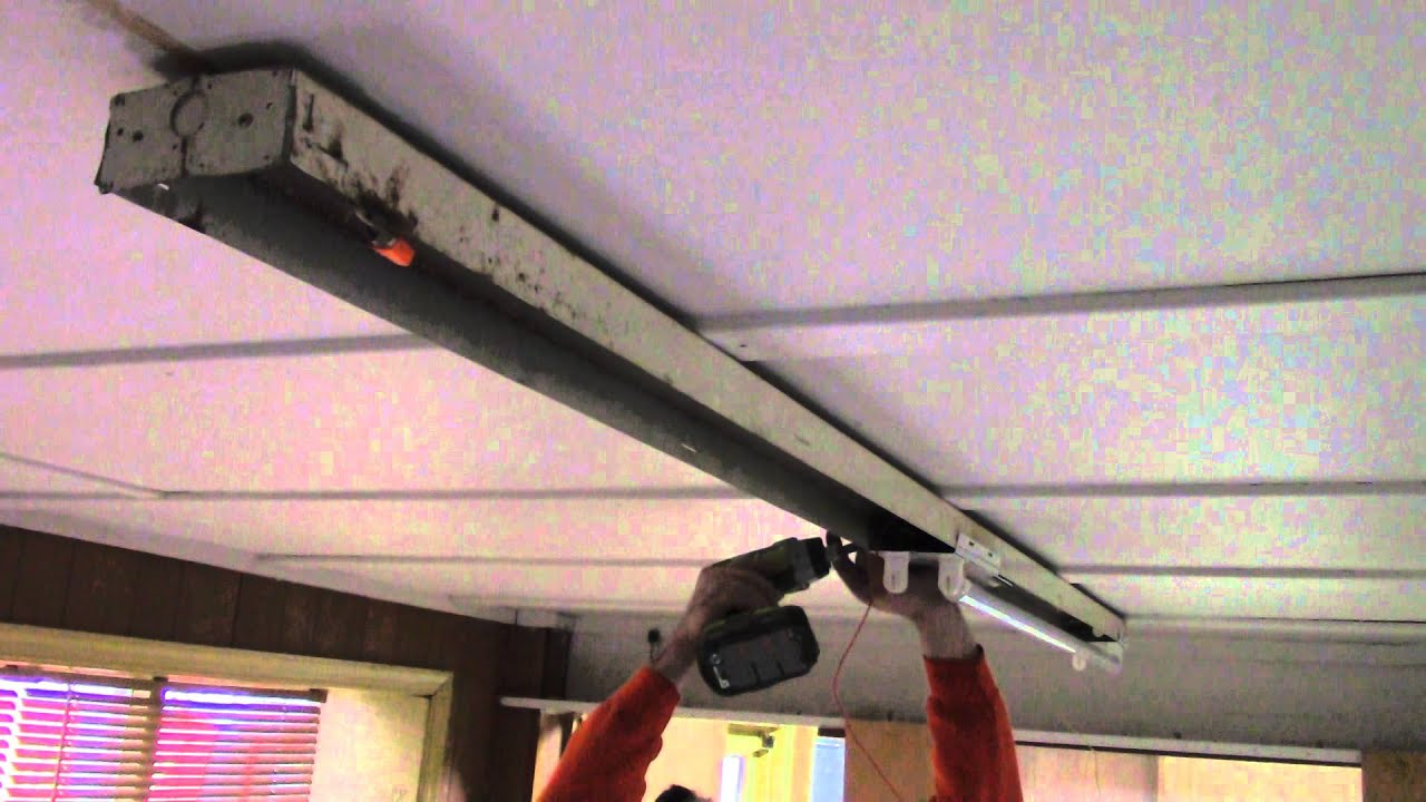 8FT Channel Fixture T8 Retrofit Kit 8FT- 2 Lamp to 4FT- 4 Lamp - YouTube