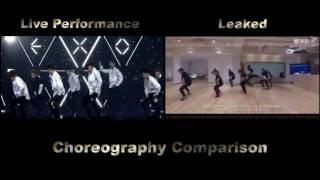 EXO_Lotto (Louder)_Choreography Comparison [Live Performance VS Leaked]