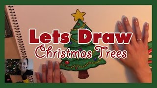 How to Draw a Christmas Tree 2 Ways - Artist Rage