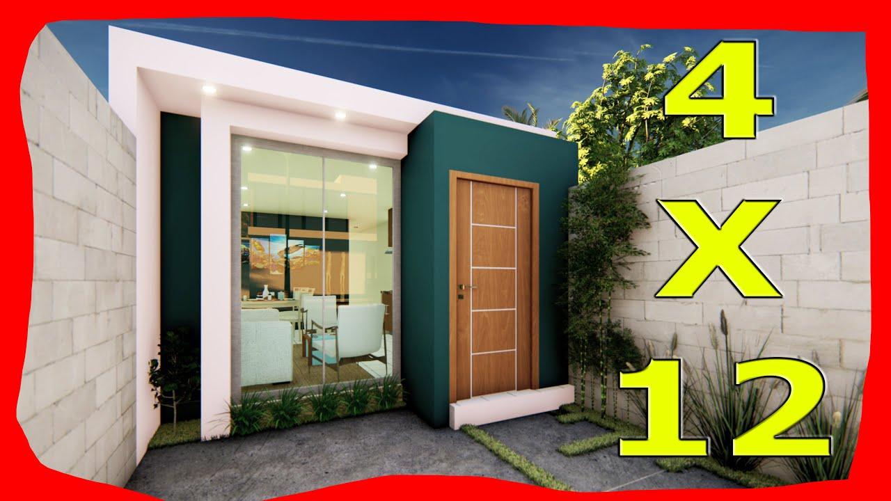 Download Planos de Casas Pequeñas de 4x12 metros Fachadas de Casas Modernas
