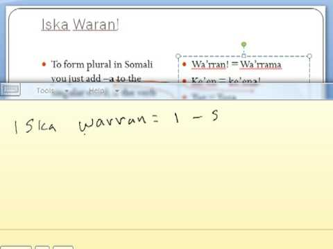 Somali Lesson Two part One
