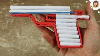 Como fazer uma Pistola de Papel - (Dispara Balas)