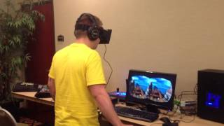 Jacob tries the Oculus Rift (roller coaster)