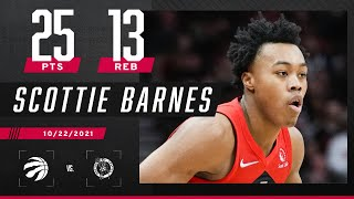 Scottie Barnes GOES OFF in his second career game with 25 PTS & 13 REB