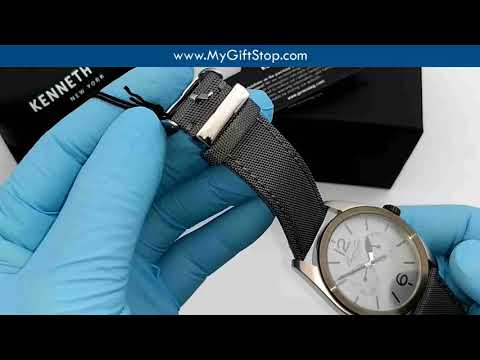 Kenneth Cole KC8065 Classic Grey Dial Men's Acrylic & Leather Strap Watch Video