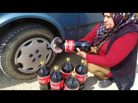 COCA COLA'YI TEKERE DOLDURDUK!! COCA COLA WHEEL CAR İNSİDE FIIL!!