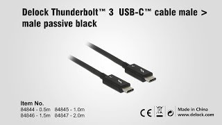 Delock 84844 Thunderbolt™ 3 USB-C™ cable male male passive black