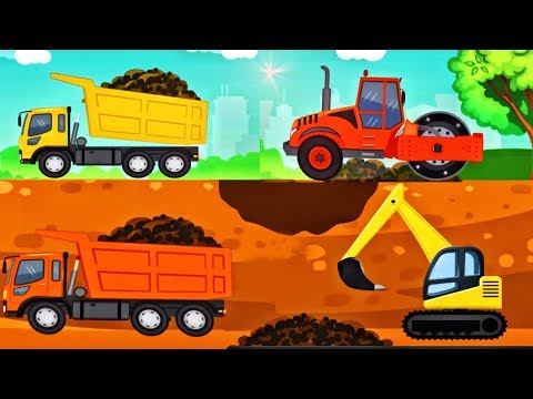 Little Builder - Video for Kids | Trucks Backhoe Cartoons: New Fun Construction Games for Children