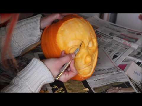 Time-Lapse video, Halloween 3D pumpkin carving 2016- skull