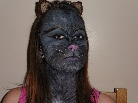 Black Cat Face Painting Tutorial - YouTube