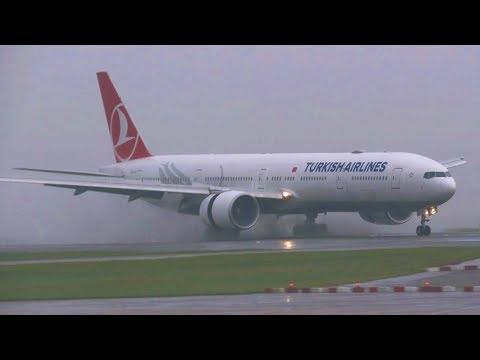 *SUPER RARE - FIRST VISIT* Turkish B777 TC-LJI Spectacular Wet Landing at Manchester Airport!