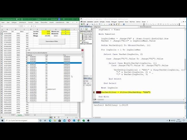 208: Excel-VBA: Massendatenverarbeitung: Bestimmte Zeilen aus einer Liste extrahieren - Array Total