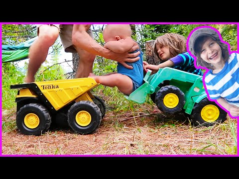 Toy Dump Truck and Tractor Deliver Baby To Swing