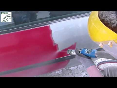 Soda Blasting A Car Door Panel
