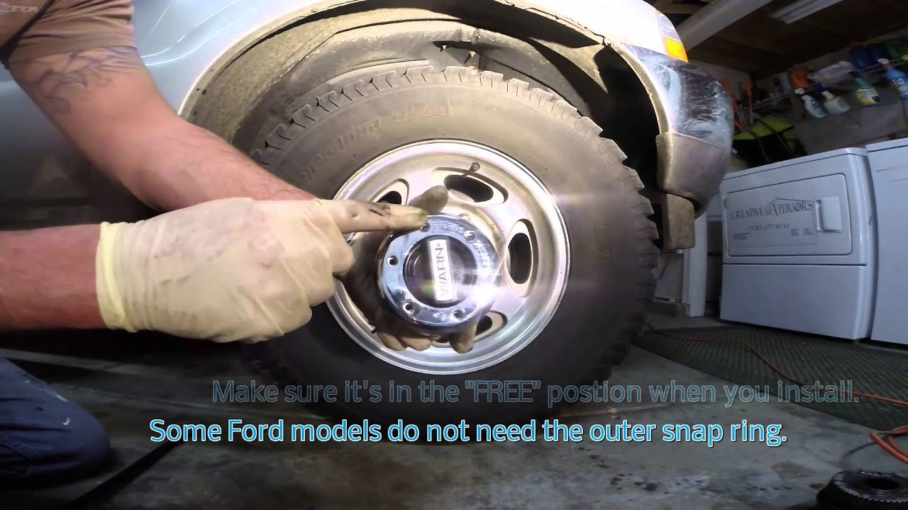 Warn locking hub swap Ford f250 - YouTube