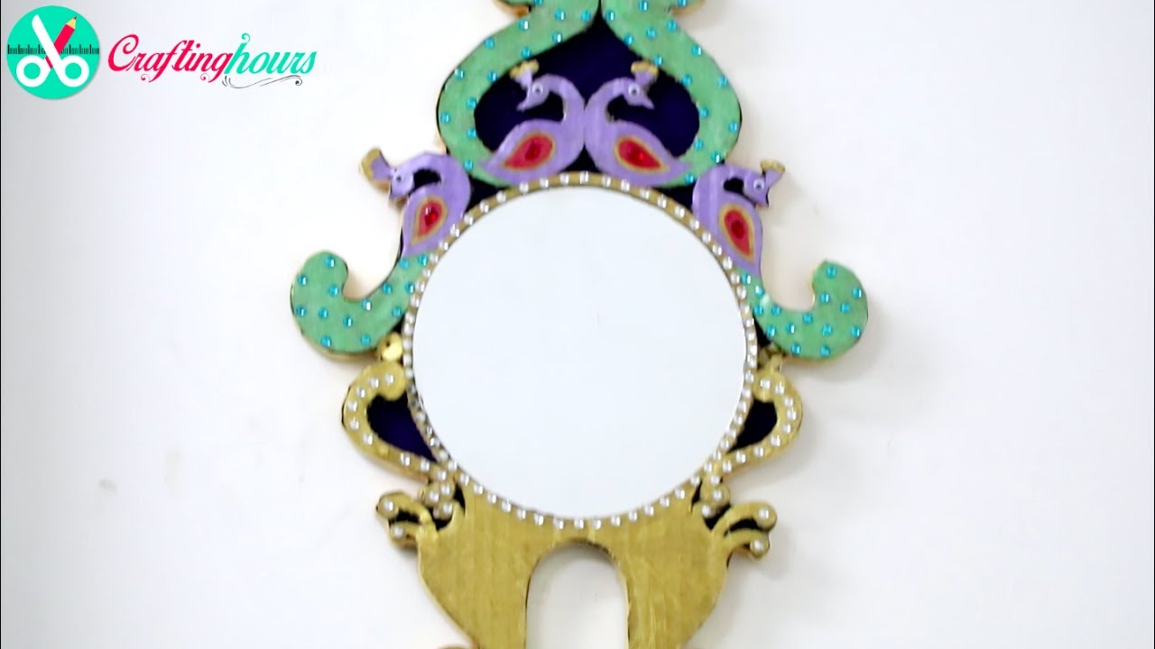 royal look decorated mirror idea for home decor with waste cardboard - Decorated Mirror