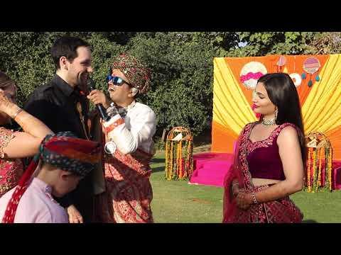 Anchor Girish Making American Groom Sing Indian Song For Bride | NRI Wedding