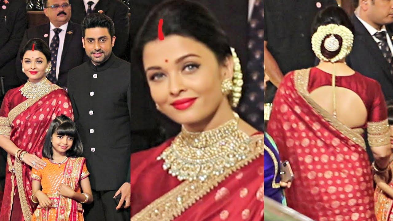 Aishwarya Rai Looks Beautiful In Red Saree And Sindoor At Isha Ambani Wedding Youtube